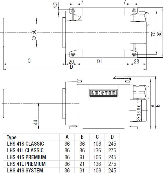 Dimensões de Instalação Leister LHS 41