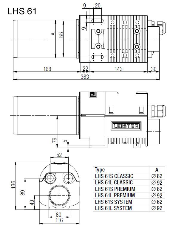 Dimensões de Instalação Leister LHS 61